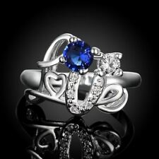 Love Ring Letters With Blue Stone Silver Rings With Cubic Zirconia Ring Unusual