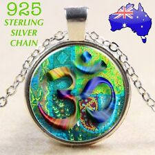 OM Buddha Boho Hippie Glass Cabochon Pendant 925 Sterling Chain Necklace Gift