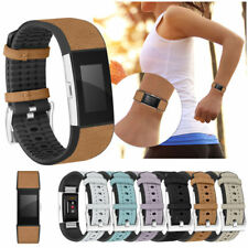 FOR Fitbit CHARGE 2 Replacement Genuine Leather TPU Wrist Strap Band Bracelet AA