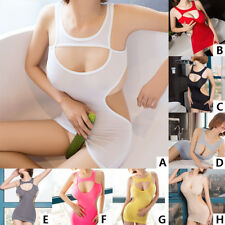 Womens Hollow Out Bodycon Sheer Club Party Clubwear Mini Dress Backless Lingerie