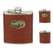 8 Oz. Stainless Steel Hip Flask with Brown Leather Wrapping For Alcohol