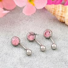 Women Single side with Rhinestone Ball Button Barbell Belly Navel Ring HYFG
