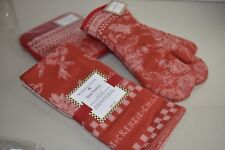 NEW Mackenzie Childs 7 Pc SET Wild Rose OVEN MITTS POT HOLDERS DISH TOWELS Red