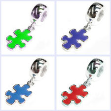 Sterling Silver Autism Jigsaw Puzzle Awareness Bead for European Charm Bracelet