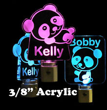 "Panda Bear Night Light, Personalized LED - Lamp - Nursery - 3/8"" Acrylic"