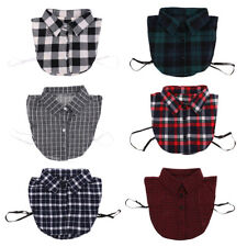 Detachable Peter Pan Women Shirt Fake Cotton Collar Choker Necklace Plaid