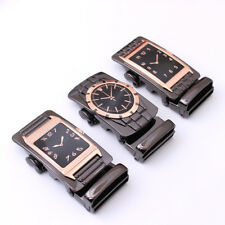 Fashion Men's Watch Automatic Buckle Belt Black Genuine Leather Belts Waistband