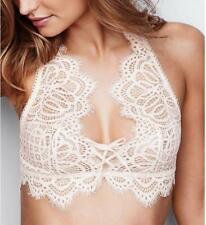 Women Hollow Out Mesh White Sexy Lace Bra Semi-Sheer Front Straps Underwears Bre