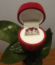 3 Stone Zircon Crystal Ring 925 Sterling Silver Engagement 7 1/2, Many Colors