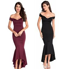 New Elegant Sexy Off-shoulder Bodycon Maxi Mermaid Evening Cocktail Party Dress