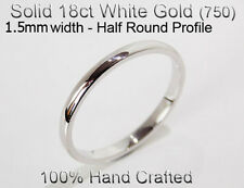18ct 750 Solid White Gold Ring Wedding Engage Friendship Half Round Band 1.5mm