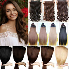 Thick Human Hair 1Piece Full Head Clip In Hair Extension Straight Wavy Fake Hair