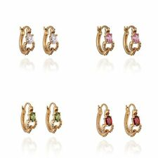 Fashion Vintage Oval Crystal Hoop Earrings Earings Yellow Gold Filled