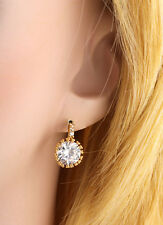 Korean Jewelry 18K Gold Filled Clear Crystal Ruby Vintage Hook Stud Earrings