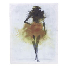 Yellow Watercolor Fashion Girl Abstract Art Canvas Print Oil Painting Wall Decor