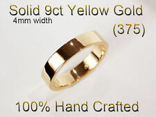 9ct 375 Solid Yellow Gold Ring Wedding Engagement Friendship Flat Band 4mm
