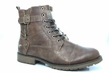 MUSTANG FUR LINED LACE UP BIKER BOOTS Brown