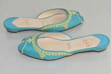 NEW Christian Louboutin Embroidered Slides Peep Toe Turquoise Flats Shoes 38