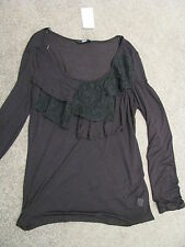 BNWT LADIES BLACK LONG SLEEVED TOP SIZE 12  RUFFLES LACE