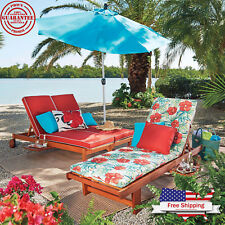 Single Double Eucalyptus Chaise Lounge Chair Wood Outdoor Patio Pool Furniture