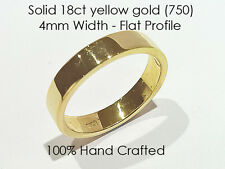 18ct 750 Solid Yellow Gold Ring Wedding Engagement Friendship Flat Band 4mm