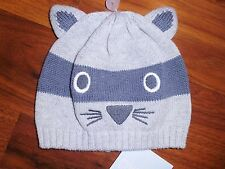 0 3 6 M Gymboree Gray RACCOON Cozy Critters Sweater Knit Hat Cap Baby Boy NWT