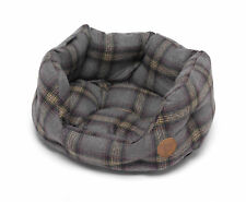 Pet Puppy Dog Grey Tweed Oval Bed Sherpa Fleece Cushion Washable Basket Petface