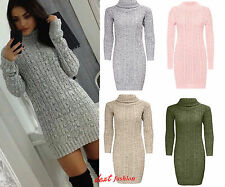 New ladies Long Sleeve Cowl Polo Neck Cable Knitted Jumper Mini Dress Top 8-26