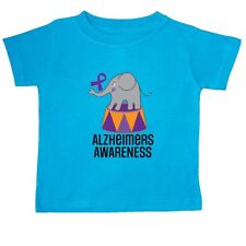 Inktastic Alzheimers Awareness Elephant Baby T-Shirt Support Walk Ribbon Purple