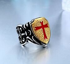 Ring cross stainless steel biker mens knight red 316l vintage silver jewelry
