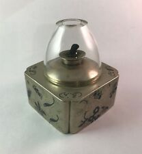 Square Paktong Opium Lamp Base in Paktong Champleve & Deep Blue Inlay No Gallery