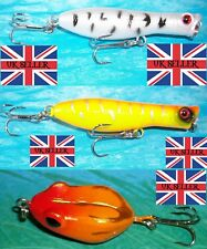 3 X NEW GOLD RATTLING FLOATING DIVING WATER BUG BASS PIKE FISHING LURE BAIT 50p