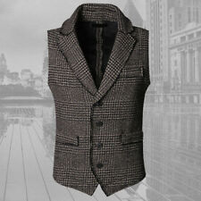 Mens Wool Vest Waistcoat Casual Business Suit Spring Thick Formal Plaid Slim Fit