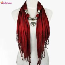 Scarf necklace with Silver Jewelry Heart bead charm pendant scarves Fashion scar