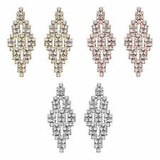 14K Gold, Rose Gold, or Rhodium Plated Small Crystal Diamond-Tiled Earring
