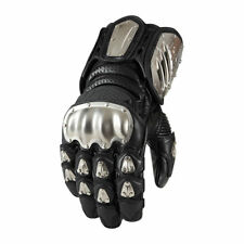 Icon Timax Long Titanium Knuckle Motorcycle Motorbike Gloves Black | All Sizes
