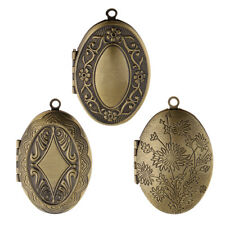 Antique Bronze Tone Flower Photo Oval Locket Frame Pendants for DIY Accessories