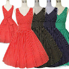 LADIES HALTER 40S 50S VINTAGE SWING PINUP RETRO ROCKABILLY POLKA DOT PARTY DRESS