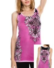 VOCAL MAGENTA TUNIC TANK TOP WITH CROSS & CRYSTALS  DETAILING NEW S-M-L-XL