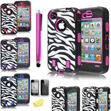 100X Lot Shockproof Case Hybrid Hard Zebra Impact Protective Cover For iPhone 4s