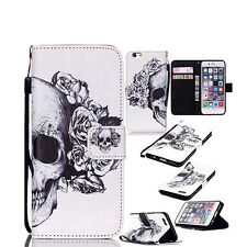 KE_ Flip Faux Leather Skull Head  Case Cover for iPhone For Samsung Adorable
