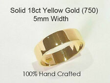 18ct 750 Solid Yellow Gold Ring Wedding Engagement Friendship Flat Band 5mm