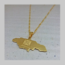 Gold plated Jamaica map pendant chain hip hop necklace // Uk seller