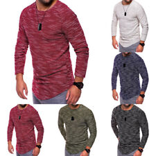 Casual Tops Blouse Muscle Tee T-shirt Fashion Men's Slim Fit Long Sleeve O Neck
