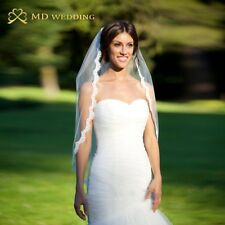 Short Wedding Veil White Ivory Comb Bridal Accessories Mantilla Lace Edge Classy