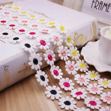 2yds Embroidered Little Daisy Flower Trim Sewing Lace Ribbon Accessories Crafts