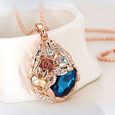 Women Rose Flower Waterdrop Pendant Long Sweater Chain Rhinestone Necklace Braw