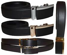 Men's belt, Genuine Leather Dress Belt Automatic Lock buckle Men's Black belt BN