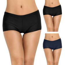 Women's Solid Boy Leg Swim Bikini Bottoms Boardshorts Boy Swim Shorts Swimwear