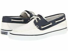 Sperry Top-Sider Women's Bahama 2-Eye Boat Shoes Cotton Canvas White Navy Size 9